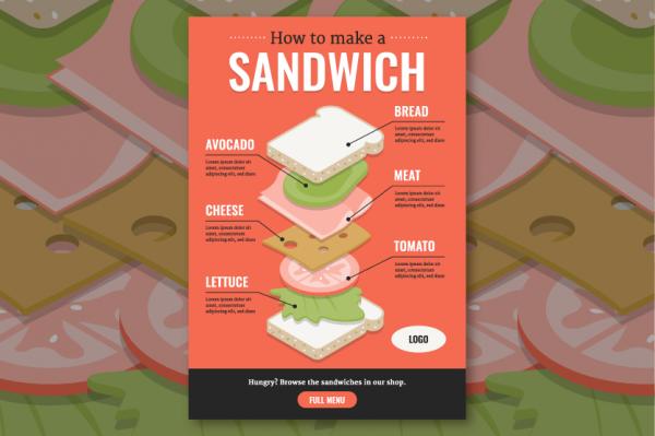 Isometric food infographic