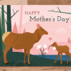 Elk card eating flowers mothers day template