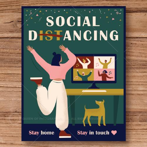Social distancing dance poster