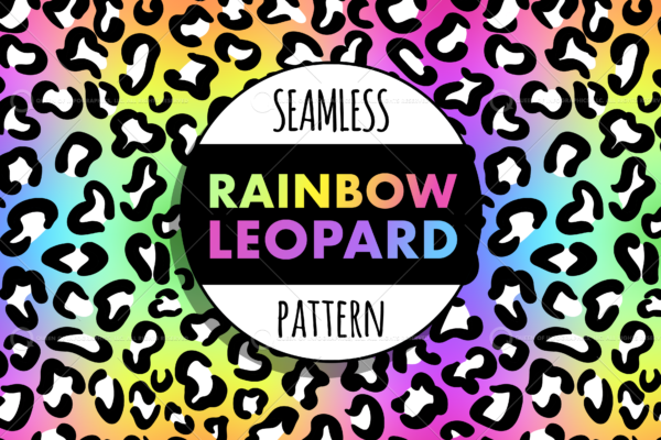 Seamless rainbow leopard cheetah pattern